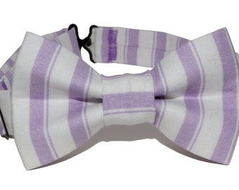 Bow Tie - Purple and White Striped Bowtie