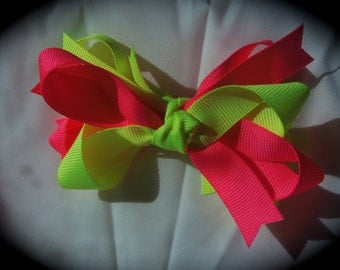 Neon yellow and pink hairbow hair bow grosgrain alligator clip