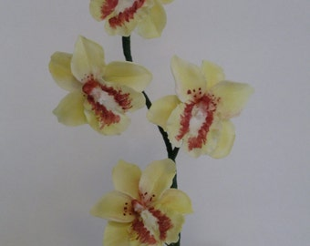 gumpaste orchid sugar edible oncidium cake topper yellow Mother's day Easter cake flower