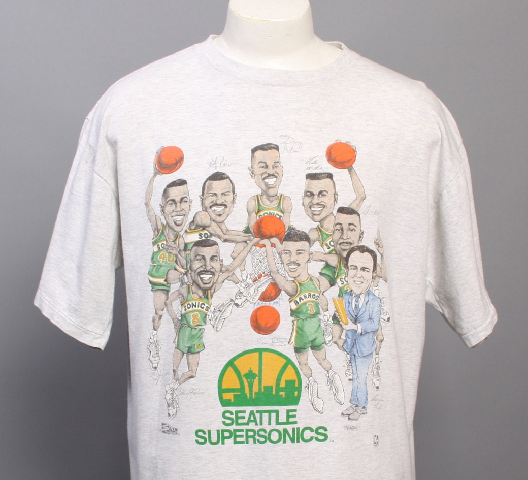 80s seattle supersonics t shirt caricature signature print for Seattle t shirt printing