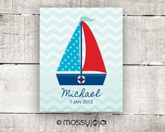 Nautical nursery art Sailboat Personalized art print by