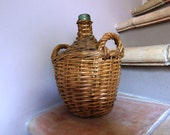 RESERVED for Linda - French vintage demi john bottle wicker and glass