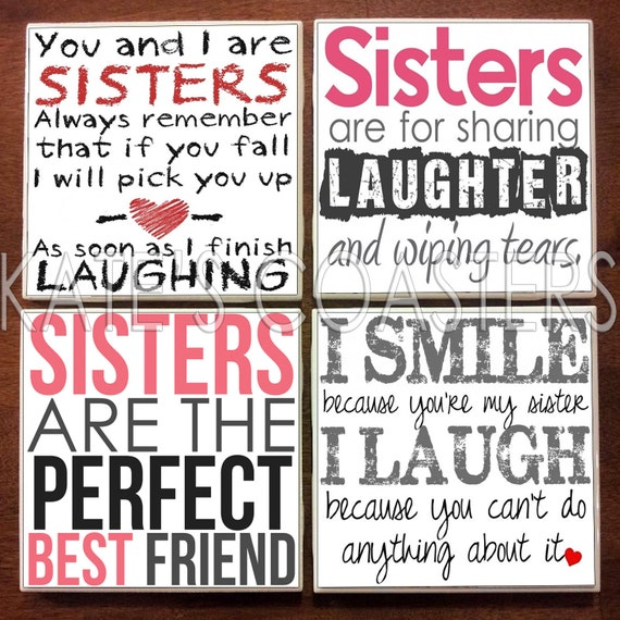 Items Similar To Set Of 4 Sister Quotes Ceramic Tile
