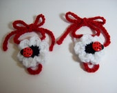 Crochet Baby Barefoot Sandals shoes, handmade, newborn 0-12 months in Black, White, and Red