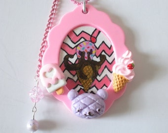 Pastel Goth Necklace- Ice Cream Cone Cameo- Hand Painted Original Art Pendant Necklace Sweets Lolita