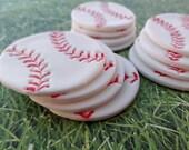 12 Fondant edible cupcake/cookie toppers - Baseballs, sport birthday party, basketball, football, soccer, baseball bat, edible baseball
