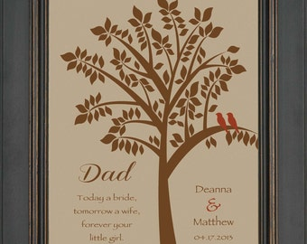 Wedding Gift for DAD from Bride- Thank you gift for DAD on Wedding Day from Daughter - Personalized Print- Can be made in other colors