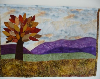 Free shipping. Wall hanging quilt. Fall colors modern art. A gift for golden wedding anniversary. A gift for housewarming or for new clinic.
