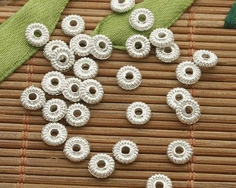 400pcs 5mm silver tone daisy spacer bead h3538