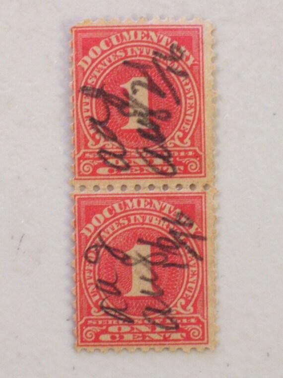 Rare Us Documentary Revenue 1 Cent Stamp Vertical Line Pair