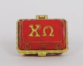"""Chi Omega 24k Gold Plated, Officially Licensed Cloisonne """"Mini Pin"""" Box"""
