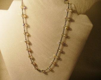Vintage 18 Inch Aurora Borealis Floating Beaded Necklace