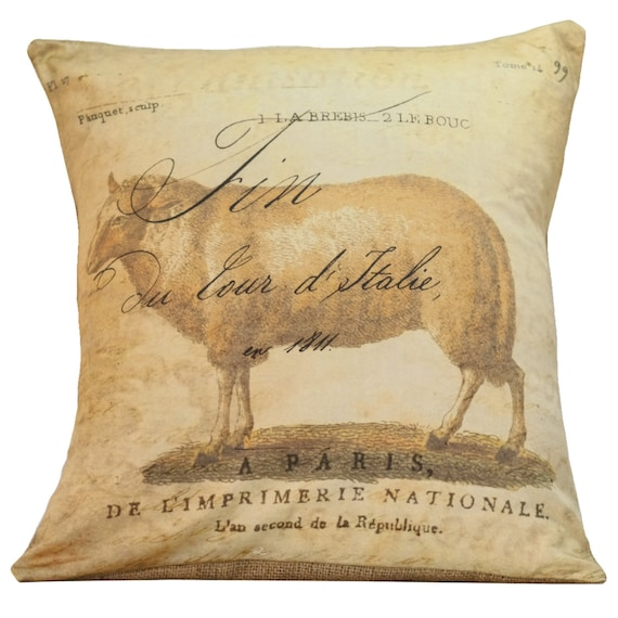 Vintage French Sheep Antique Document Burlap Cotton Throw Pillow