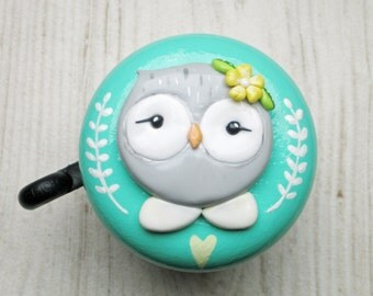 Bike Bell - Owl Amelie - 55mm - glossy varnish - polymer clay - handsculpted