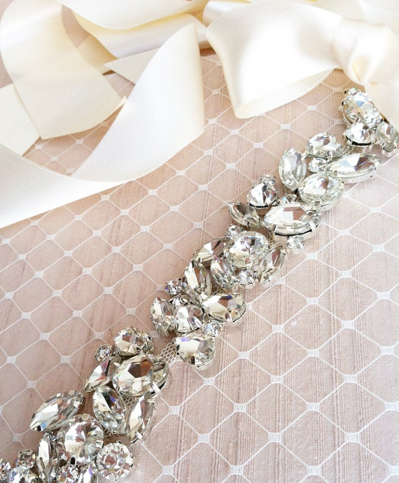 Rhinestone wedding sash prom sash crystal sash by for Wedding dress sash with rhinestones