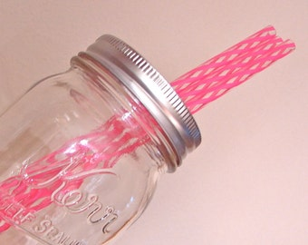 Straws-Reusable-Eco Friendly BPA Free Striped Straws - Extra or Replacement Straws For Mason Jar Commuter Lids - Pink and Clear  10 Pieces