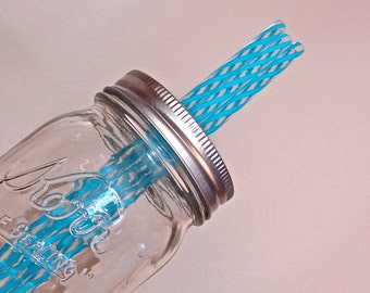 Straws - Eco Friendly BPA Free Striped Reusable Straws - Extra or Replacement Straws For Mason Jar Commuter Lids - Aqua and Clear  10 Pieces