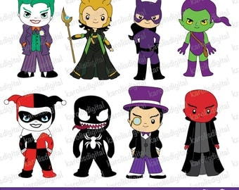 Comic villains - clip art set - Personal & commercial use - the penguin, the joker, green goblin,