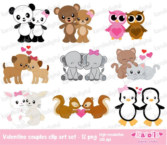 Valentine animals couples clip art set personal etsy - Valentine s day animal pics ...