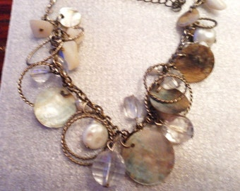 Sale -  Mother of pearl beaded abylone handmade necklace