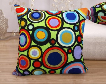 "VELVET PILLOW COVER Circle Time 16""x16"" Folk Art Abstract Primitive Colorful Karla Gerard"