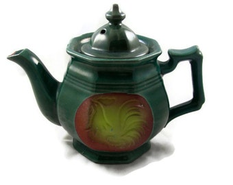 Green French Farmhouse Rooster Tea Pot