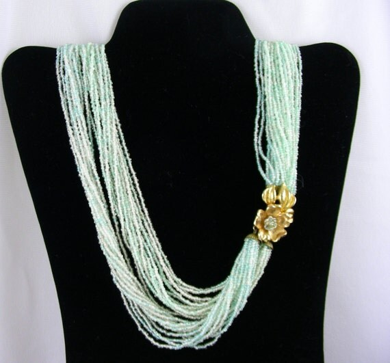 Mint Green Seed Beed Necklace - 24 Strand - Vintage Wonderful