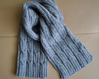 "PDF KNITTING PATTERN Men's Scarf ""Cables"" - Men scarf - Winter accessory"