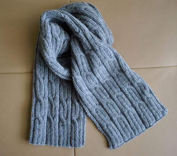 Knitting Patterns For Men s Hats And Scarves : PDF KNITTING PATTERN Mens Scarf Cables Men