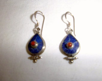 LapisLazuli and Coral Stones Silver Earrings