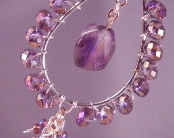 SALE Amethyst and Peridot Chandelier Earrings - Teardrop shaped Chandelier Earrings - Ships FREE within the USA