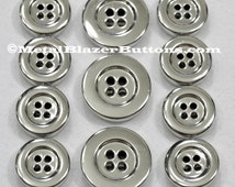 Premium Metal POLISHED SILVER 4 HOLE Sport Coat Blazer Button Set