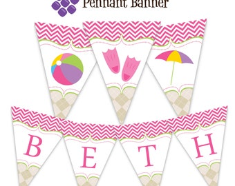 Pool Party Pennant Banner - Pink Chevron and Argyle Pool Water Beach Ball Personalized Birthday Party Banner - A Digital Printable File