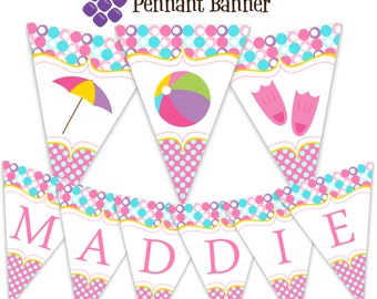 Pool Party Pennant Banner - Pink, Turquoise Blue Polka Dots, Water Beach Ball Personalized Birthday Party Banner - A Digital Printable File