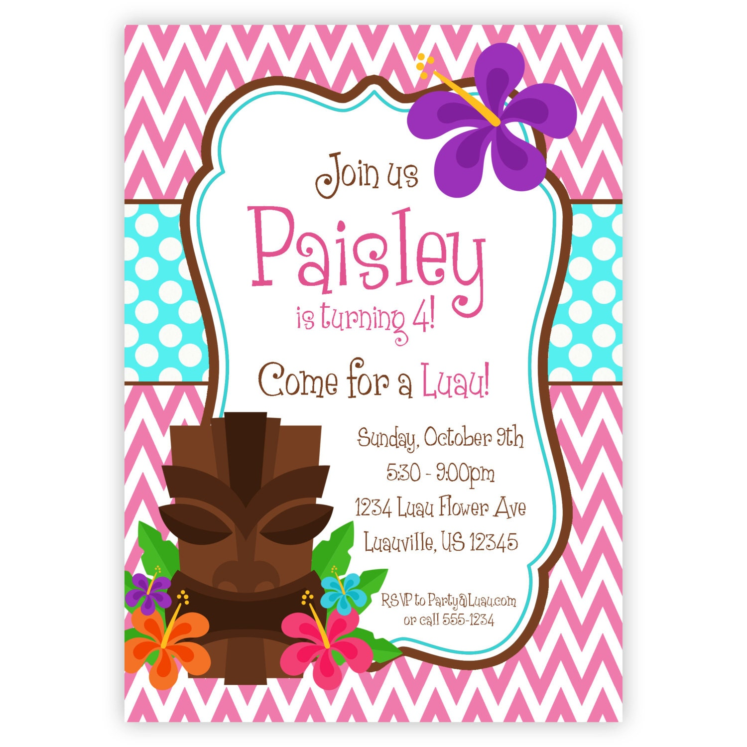 Tiki invitation – Tropical Birthday Invitations