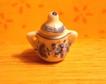 Dollhouse Covered Bowl - Doll House Blue White Floral Covered Bowl - 1/12th Scale