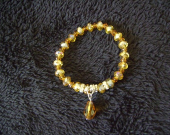 Handmade Stretch Amber Glass Beads Bracelet