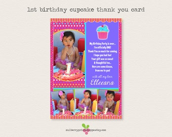 Cupcake 1st Birthday Photo Thank You Card