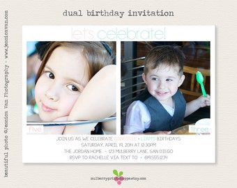 Printable Simple Dual/Sibling Birthday Invitation - Colors Changeable