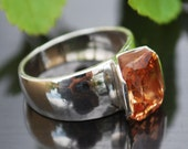 Handmade sterling silver ring,Orange stone,Ring size on request,You can also change the size and color of the stone.