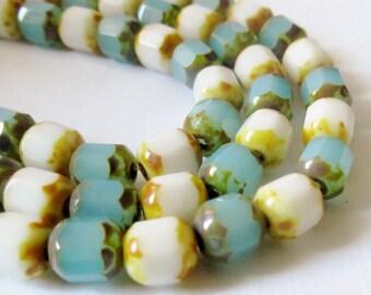 Aqua & White Opal Travertine Picasso 6mm Lantern Bead Mix, 30 Pieces