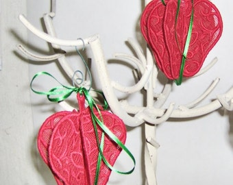APPLES,  Free Standing  3-D Lace, Ornies,  Seasonal,  Hanging Ornaments,  Machine Embroidery,  Hostess Gift,  Summer, Birthday, Mothers Day