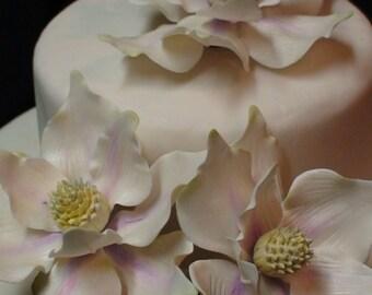 Sugar Gumpaste Southern Magnolia  Flower Wedding Celebration Cake Decoration