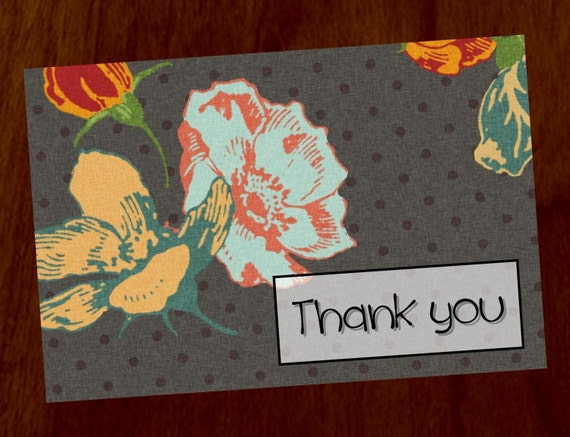 Vintage Floral 4x6 Printable Thank You Card