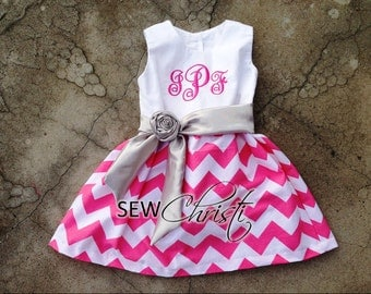 Monogrammed Girls outfit , Baby Girl Clothes , Pink Chevron Dress , Personalized Baby girl Dress , Toddler dresses , Infant dress , Easter