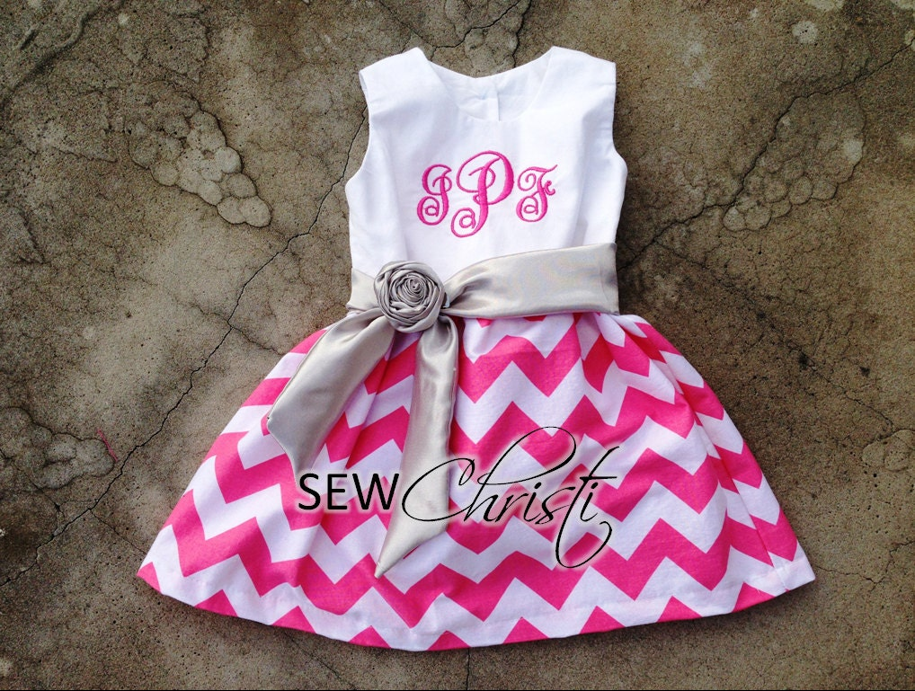 Girls Monogrammed Chevron Easter Dress Pink and White with