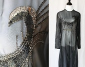 70s Black Beaded Vintage Dress