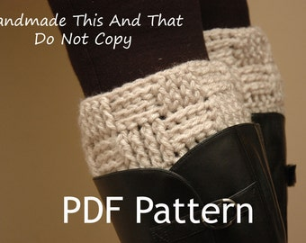INSTANT DOWNLOAD - Crochet Pattern - Womens boot cuff, leg warmers, boot socks, boot toppers - Basketweave/checker boot cuffs