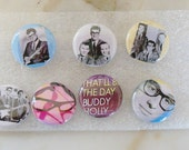 BUDDY HOLLY PINS - Pioneer of Rock & Roll - Vintage Pin Collection - Perfect for the Buddy Holly Fans - Hip Shades of Pink/Blue/Black/White