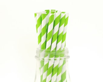 25 Apple Green Paper Straws Striped Retro Vintage Style Carnival Circus Wedding Birthday Bridal Baby Shower W/ Printable Flags